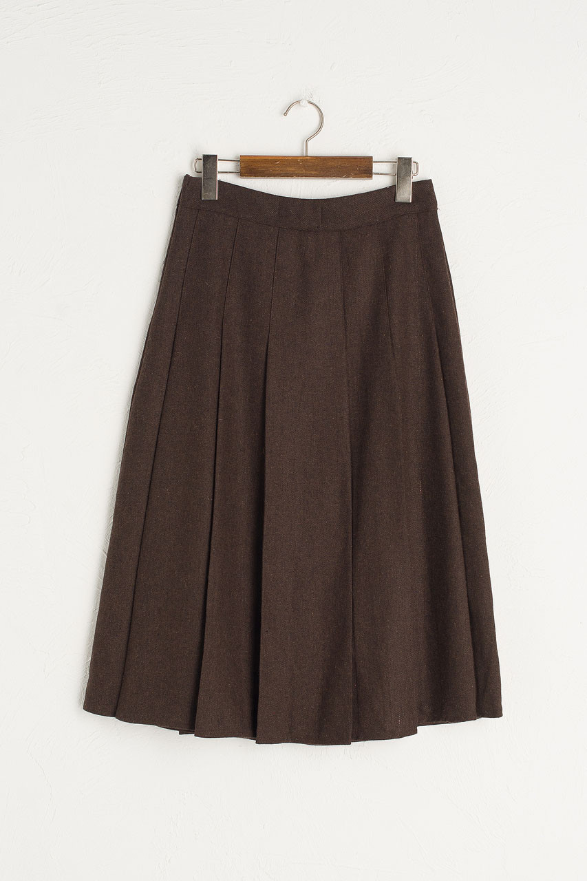 Pleated Wool Skirt, Brown