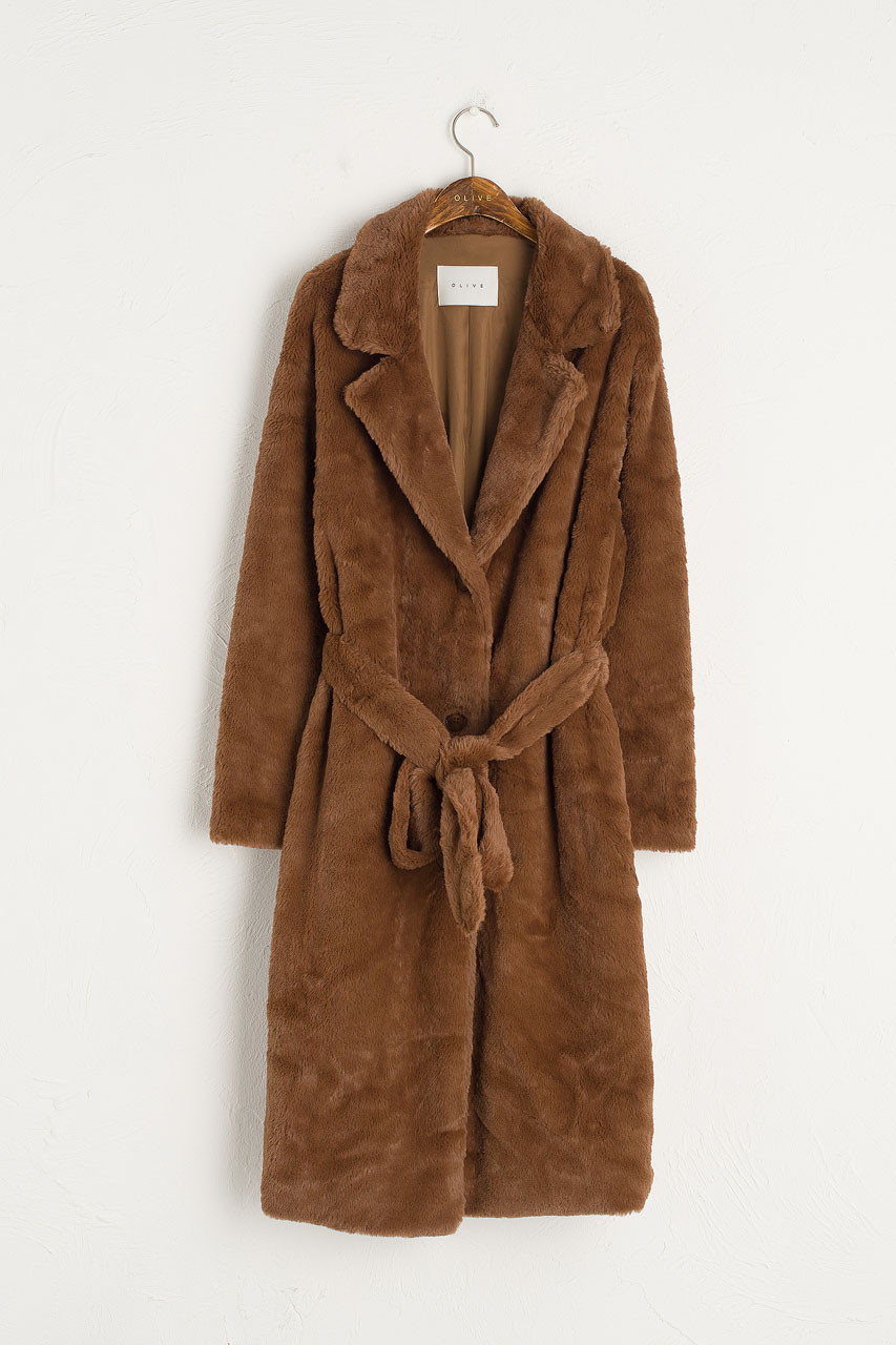 Faux Fur Belted Coat, Brown