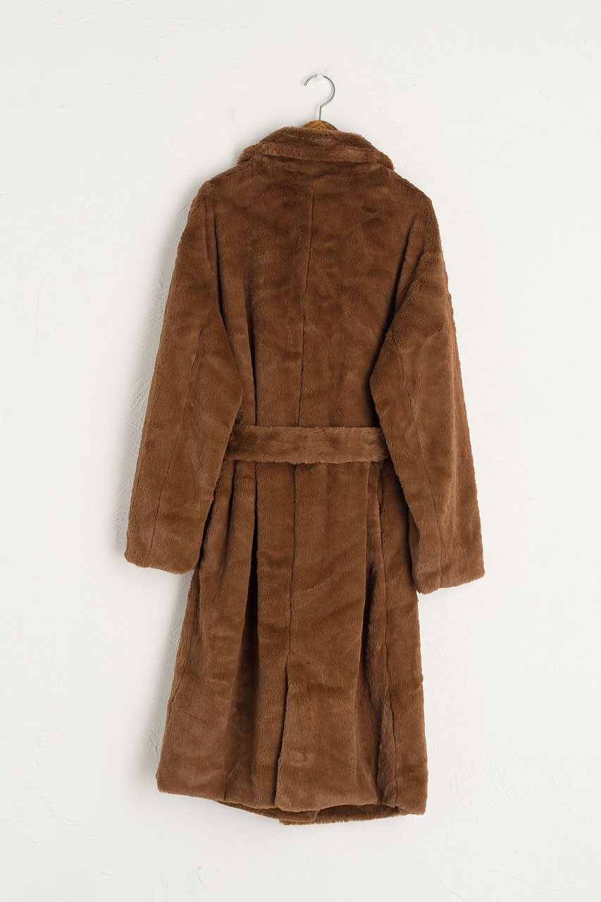 Faux Fur Belted Coat, Brown