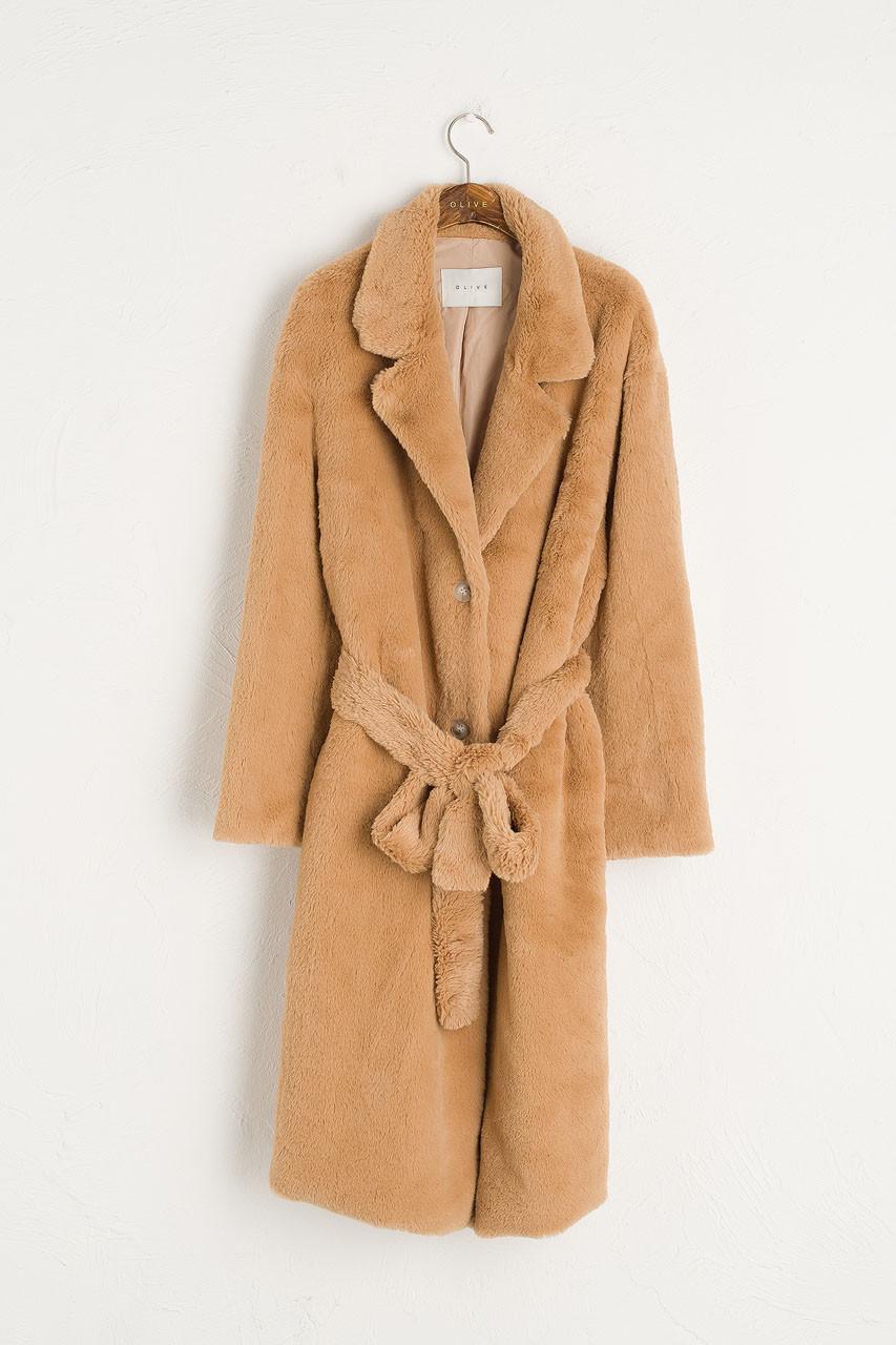 Faux Fur Belted Coat, Beige