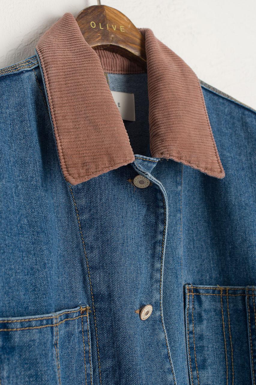 Cord Point Collar Denim Jacket, Mid Blue