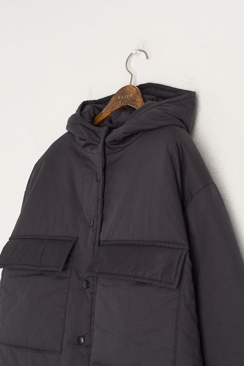 String Padded Jacket, Navy
