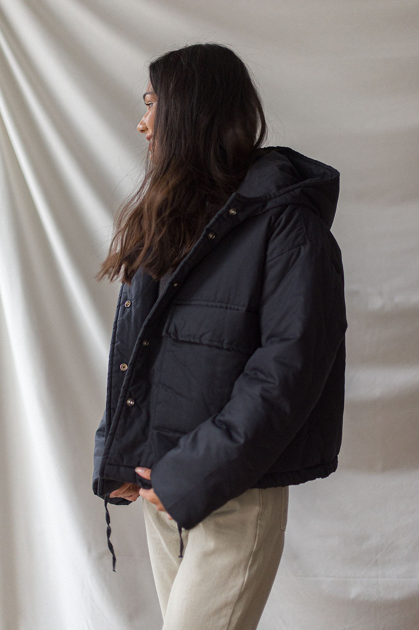 String Padded Jacket, Navy