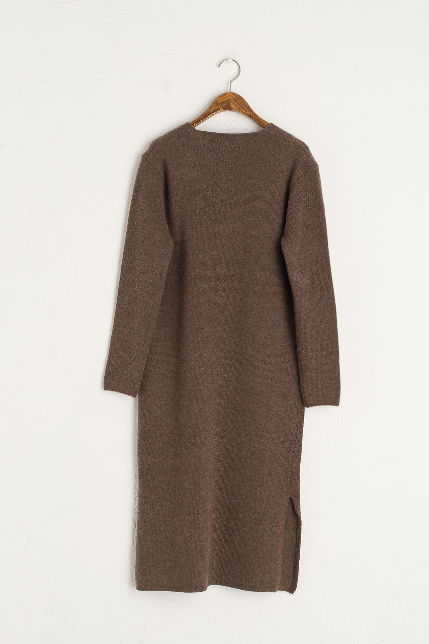 Jena V Neck Knit Dress, Brown