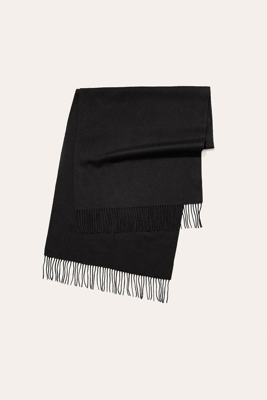 Menswear   Large Wool Scarf, Black