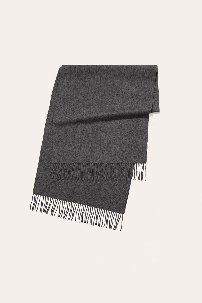 Menswear | Large Wool Scarf, Dark Grey