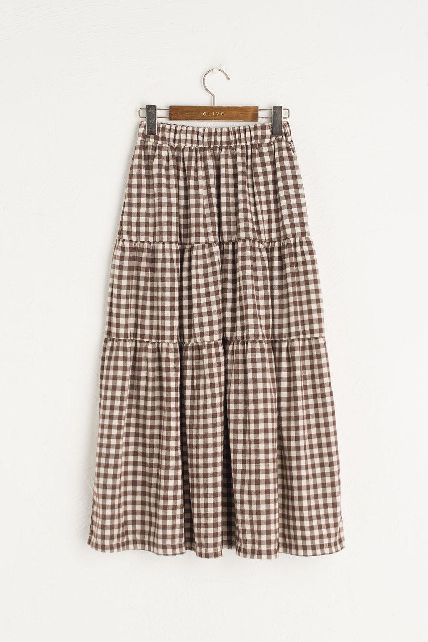 Faye Gingham Skirt, Brown