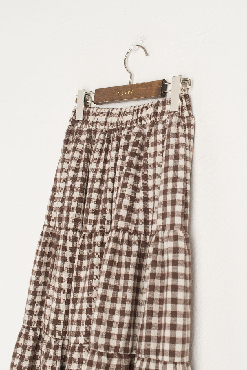 Faye Gingham Skirt, Brown