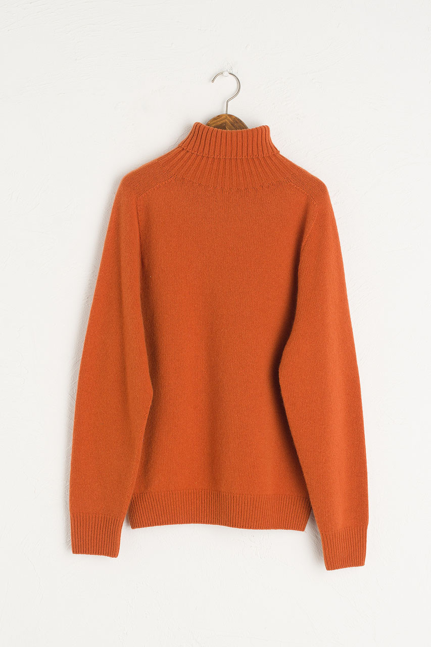 Seamless Roll Neck Jumper, Warm Orange