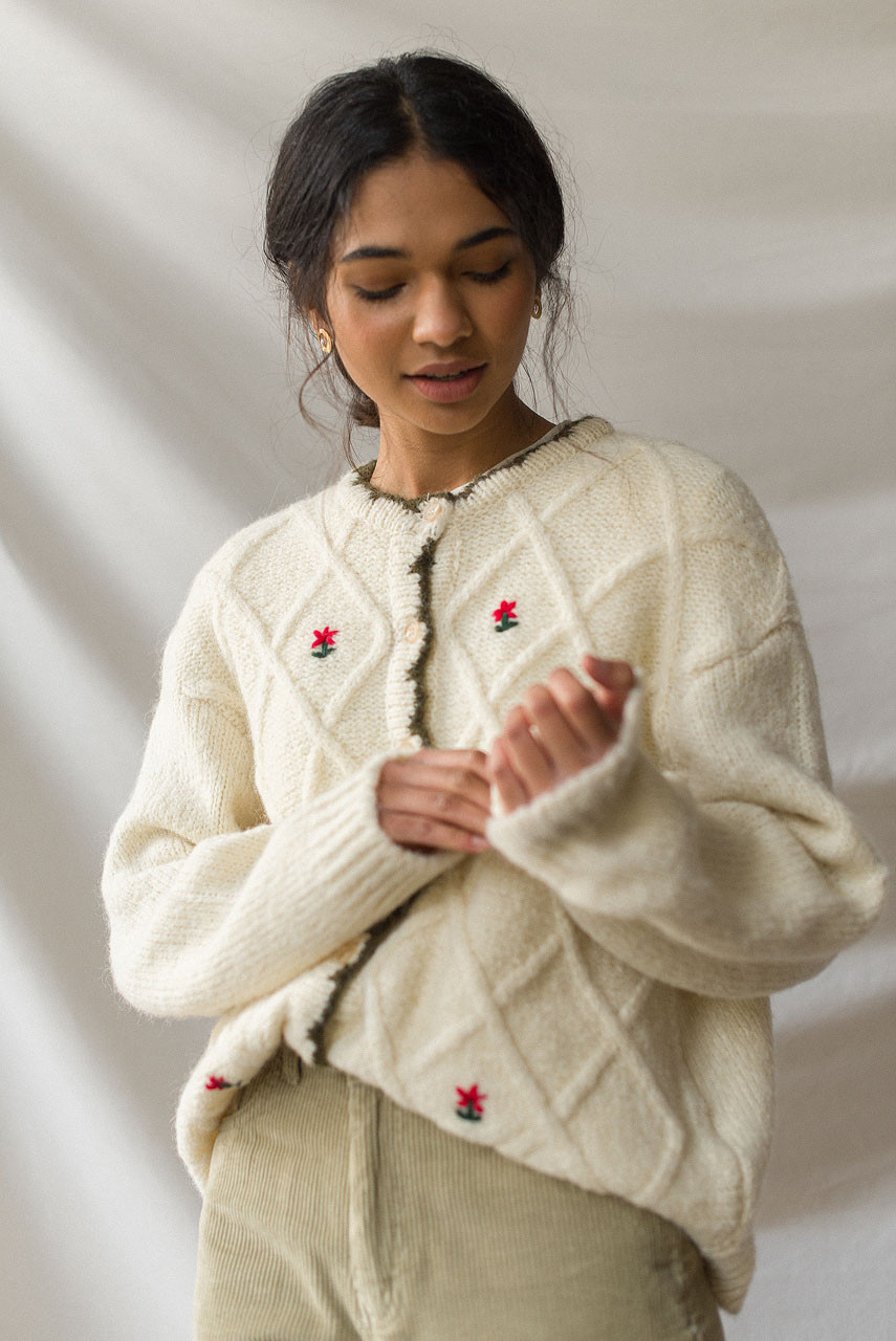 Flower Embroidered Boxy Cardigan, Ivory