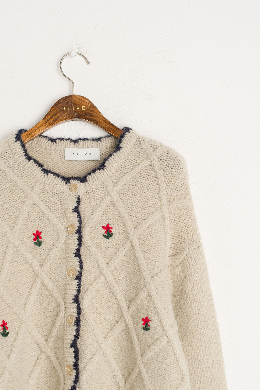 Flower Embroidered Boxy Cardigan, Beige