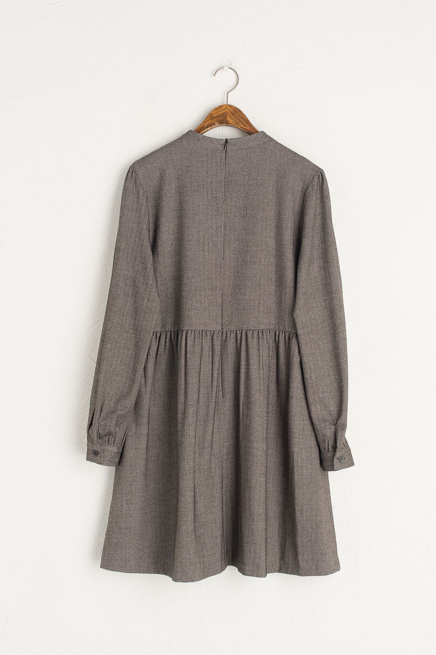 Mock Neck Herringbone Dress, Charcoal