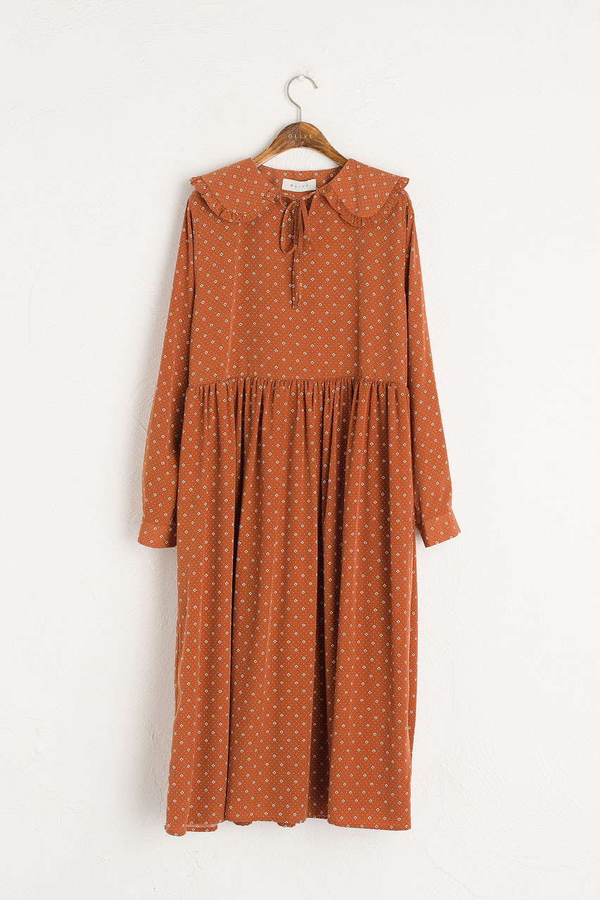 Frill Collar Print Dress, Brown