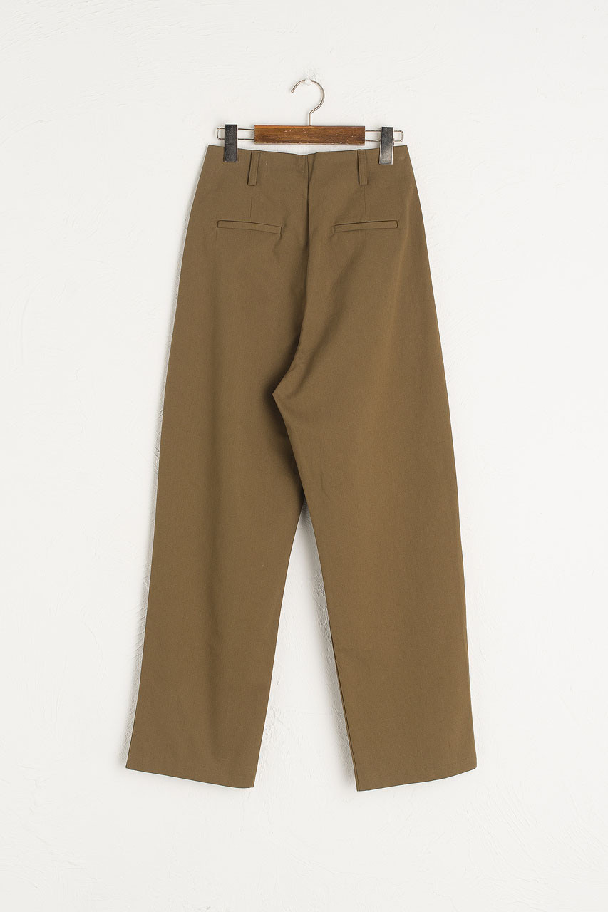 Single Pleated Cotton Pants, Brown