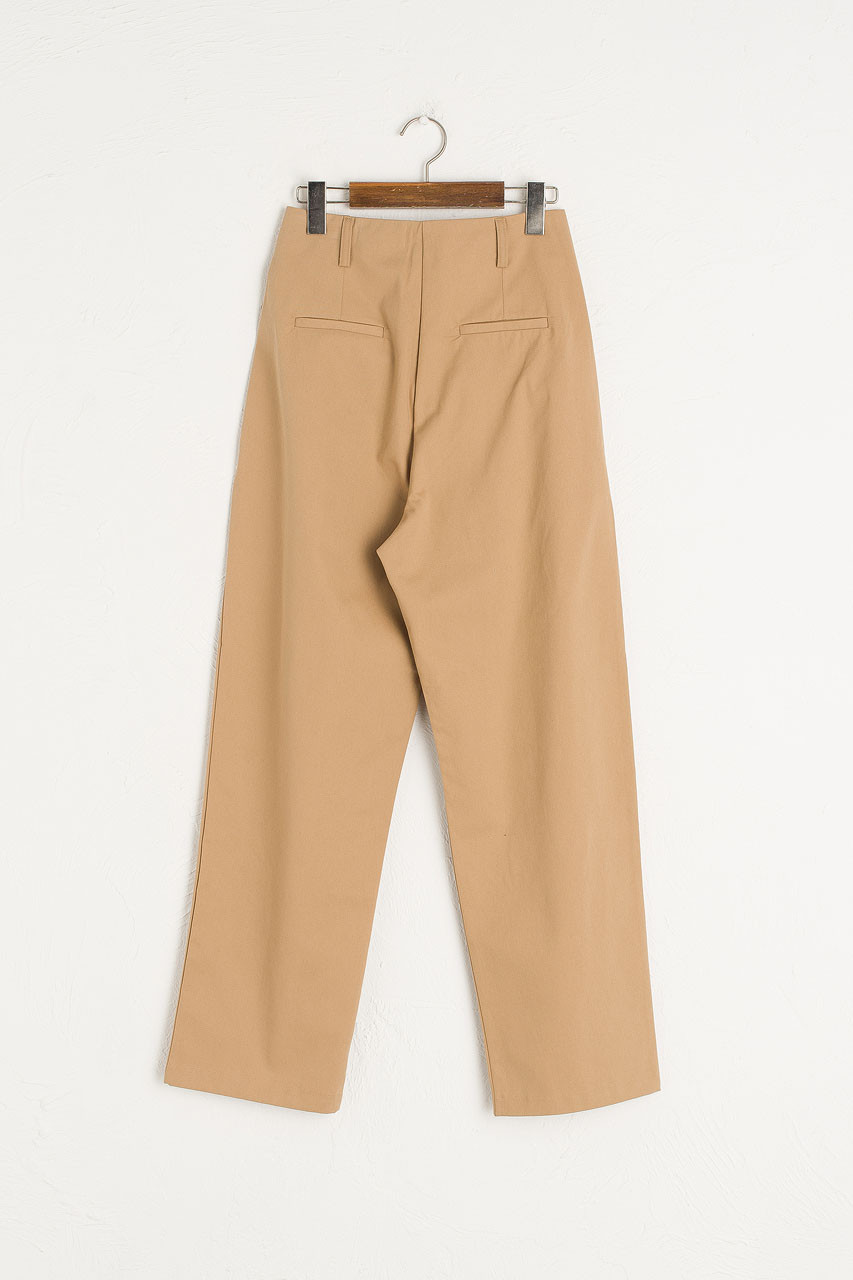 Single Pleated Cotton Pants, Beige