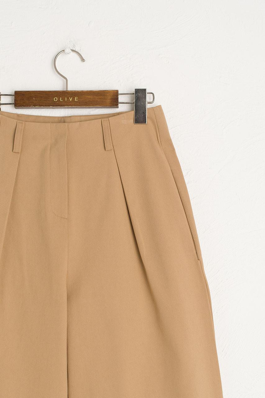 Single Pleated Cotton Pants, Beige