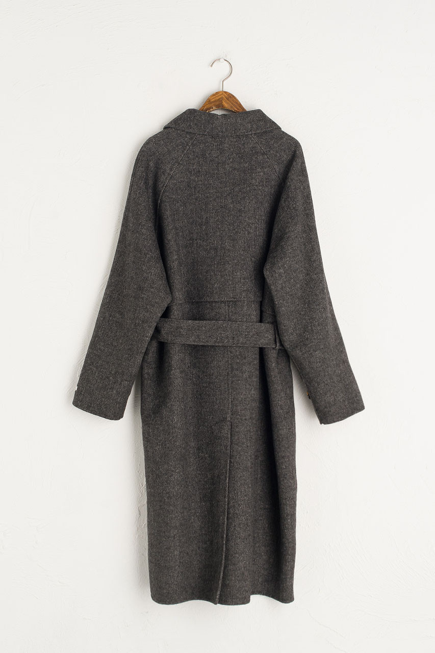 Herringbone Raglan Coat, Charcoal