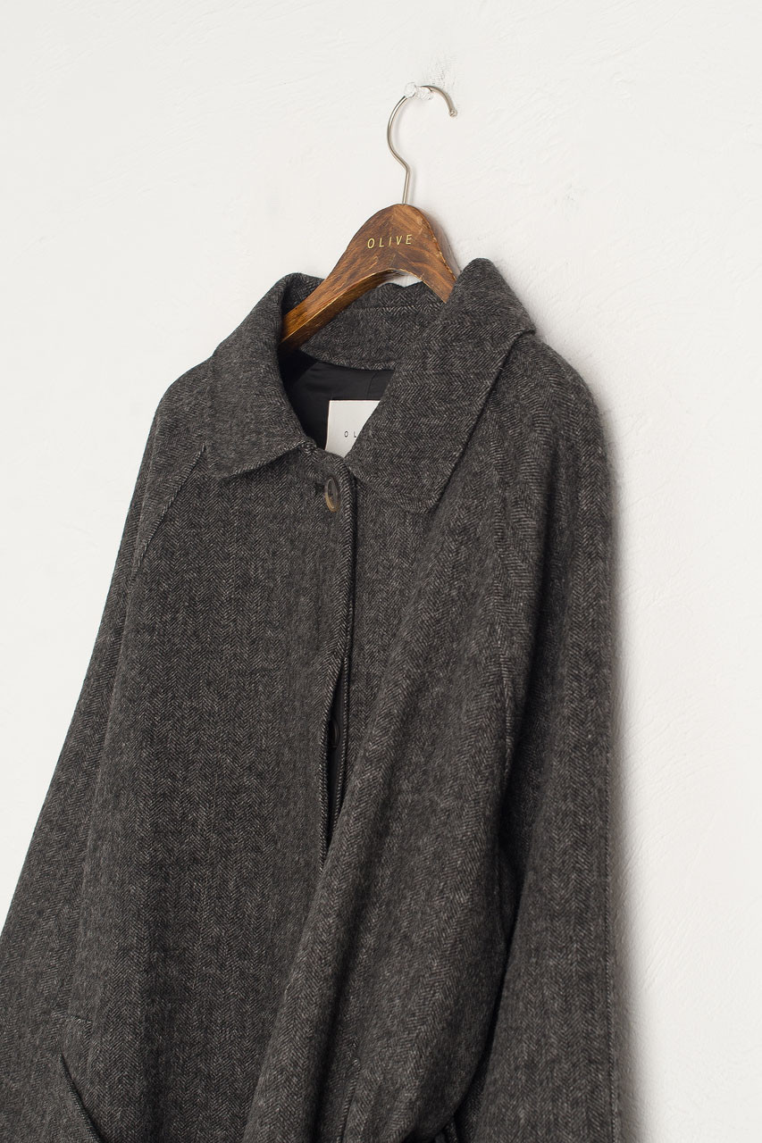 Herringbone Raglan Coat, Charcoal