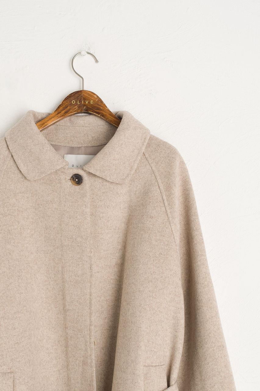 Herringbone Raglan Coat, Oatmeal