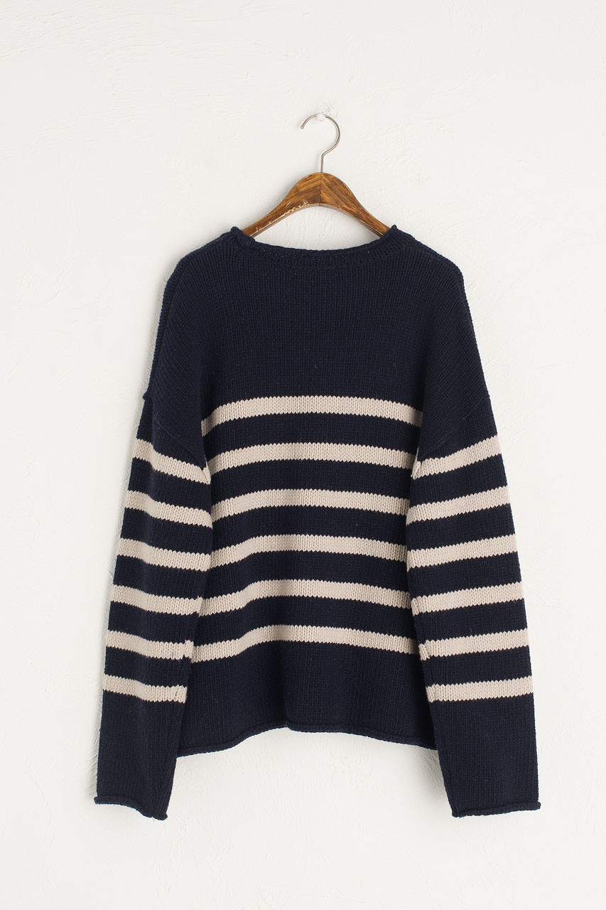 Half Stripe Wool Jumper, Navy
