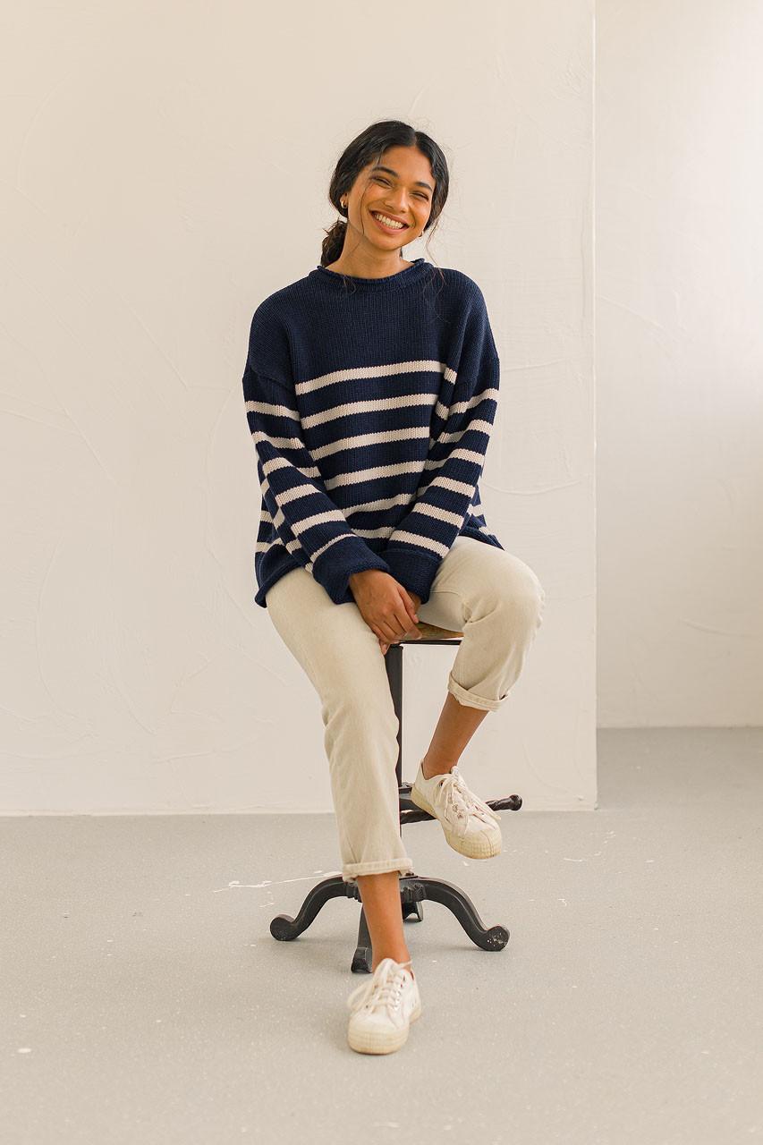 Half Stripe Wool Jumper, Navy