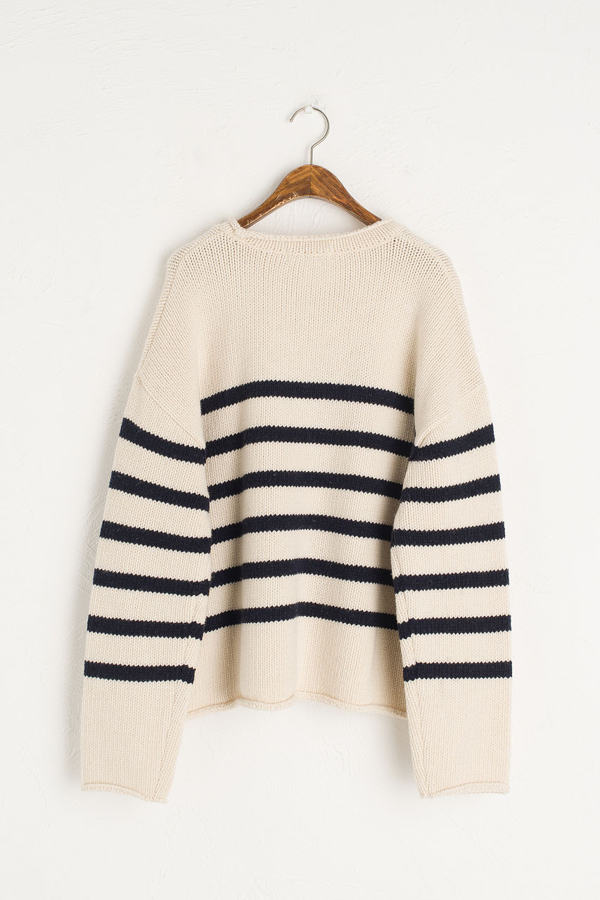 Half Stripe Wool Jumper, Ivory