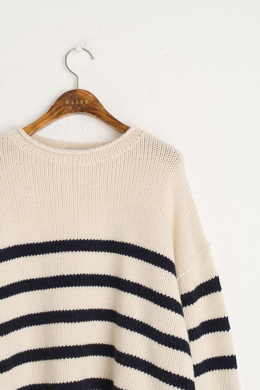 Half Stripe Wool Jumper, Ivory