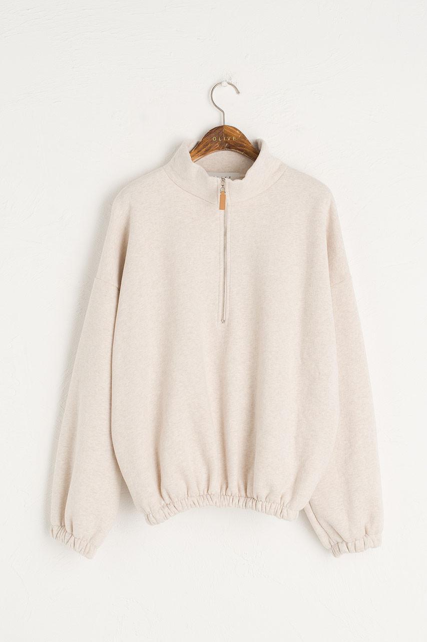 Fleece Half Zip Up Sweatshirt, Oatmeal
