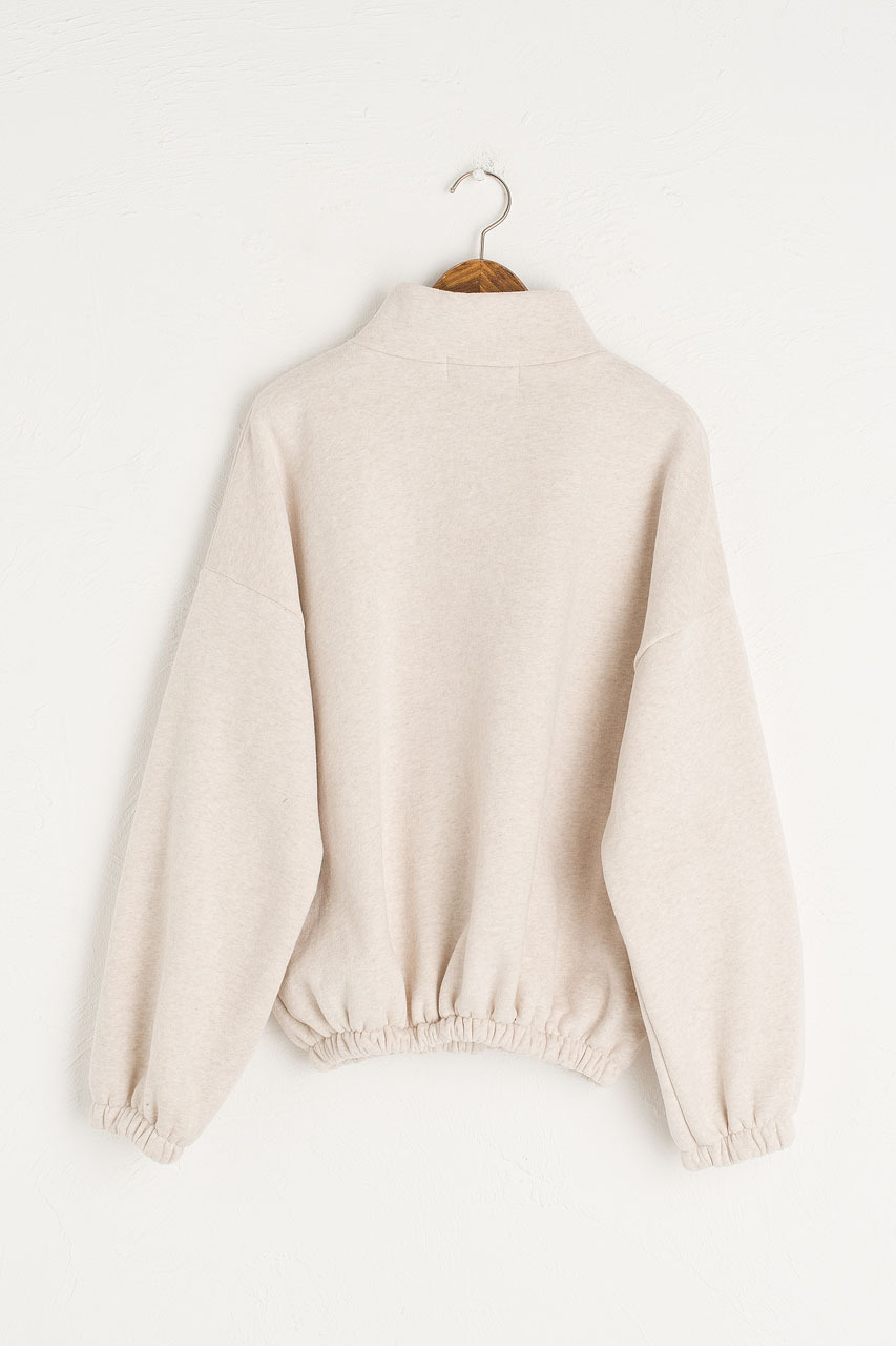 Fleece Half Zip Up Sweatshirt, Oatmeal