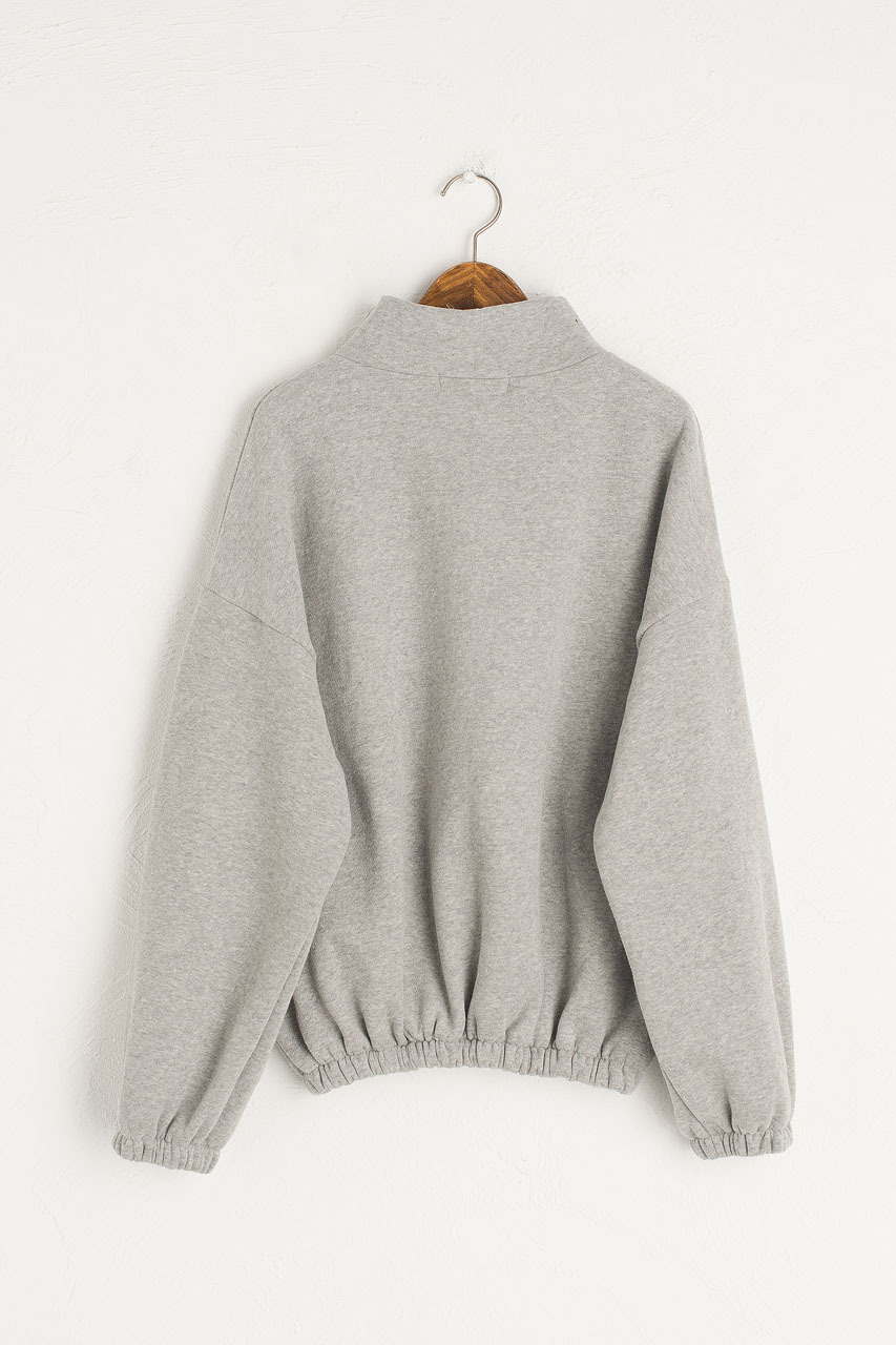 Fleece Half Zip Up Sweatshirt, Grey