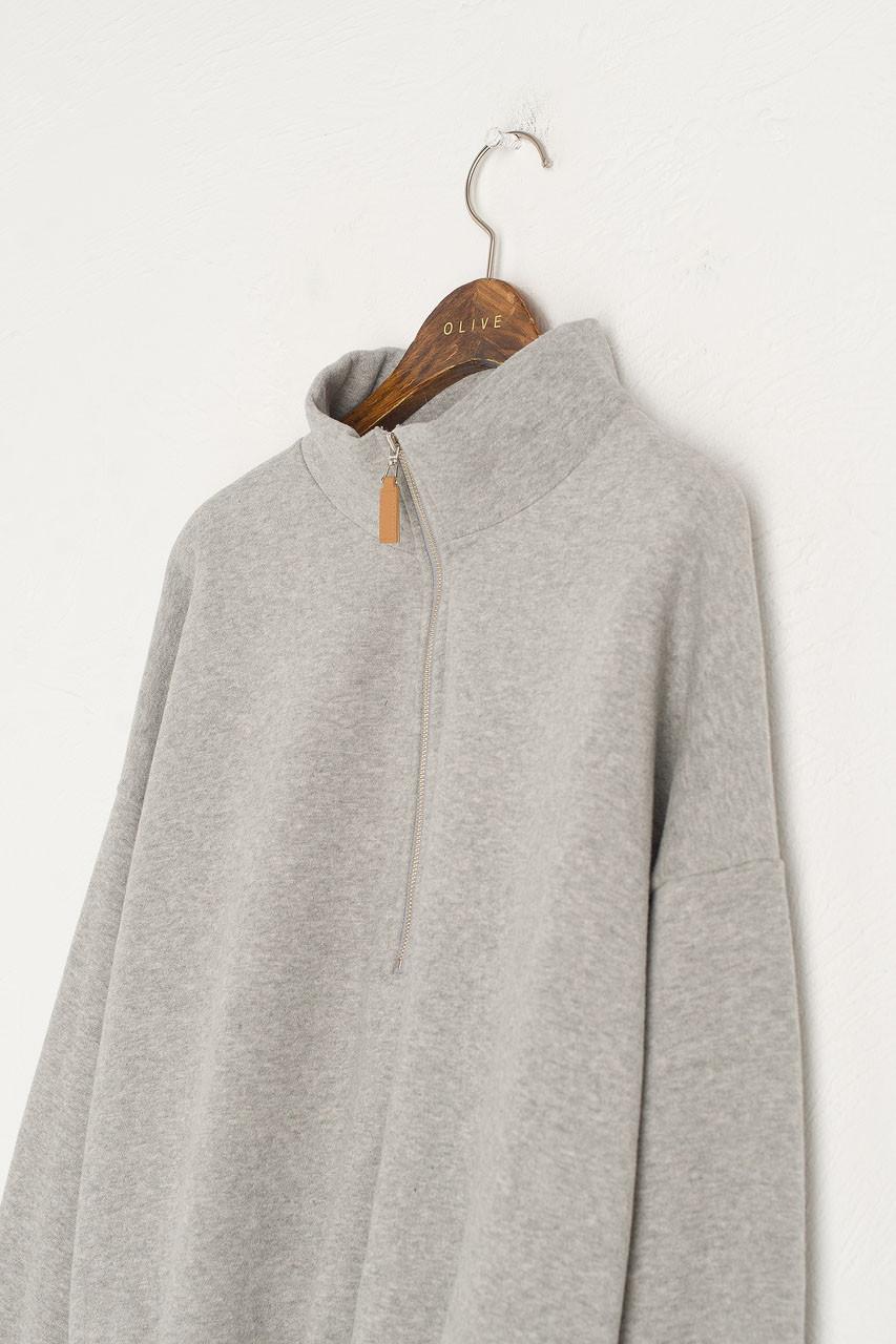 Fleece Half Zip Up Sweatshirt, Grey
