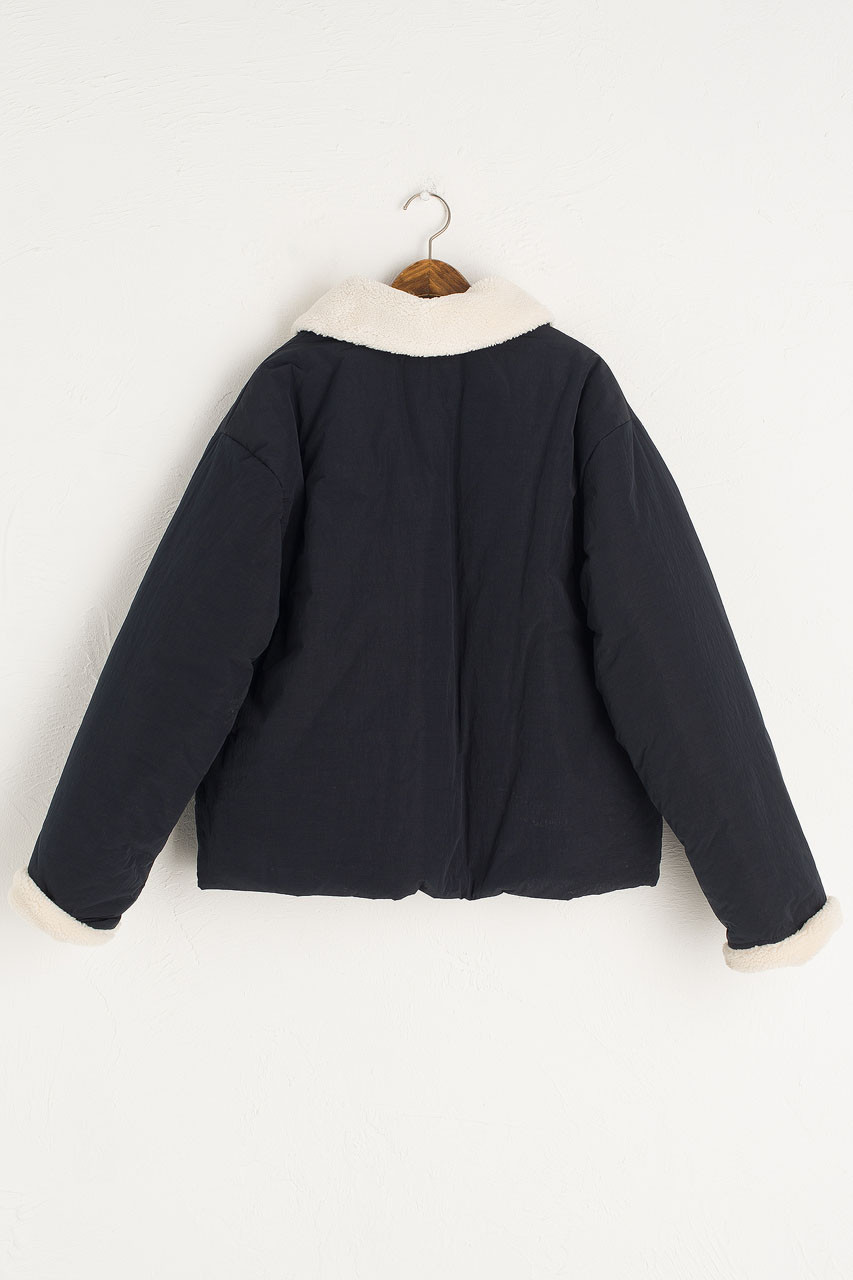 Faux Fur Collar Puffer Jacket, Navy