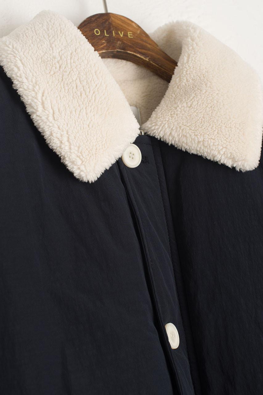 Faux Fur Collar Puffer Jacket, Navy