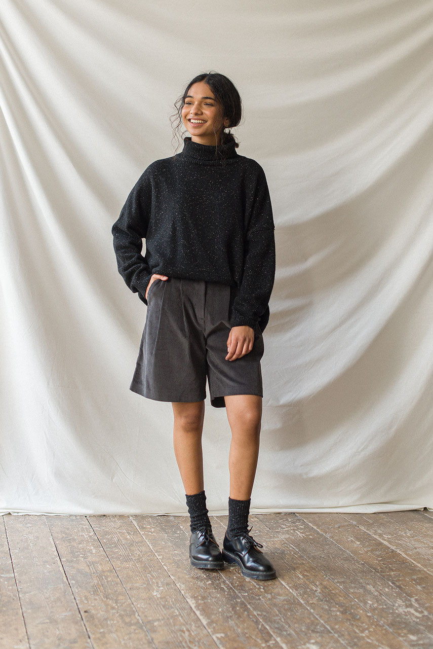 Boxy Cord Short, Charcoal