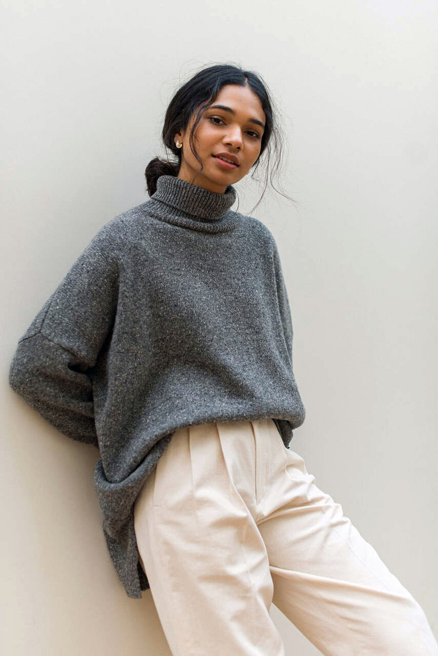 Oversize Boucle Roll Neck Jumper, Mid Grey