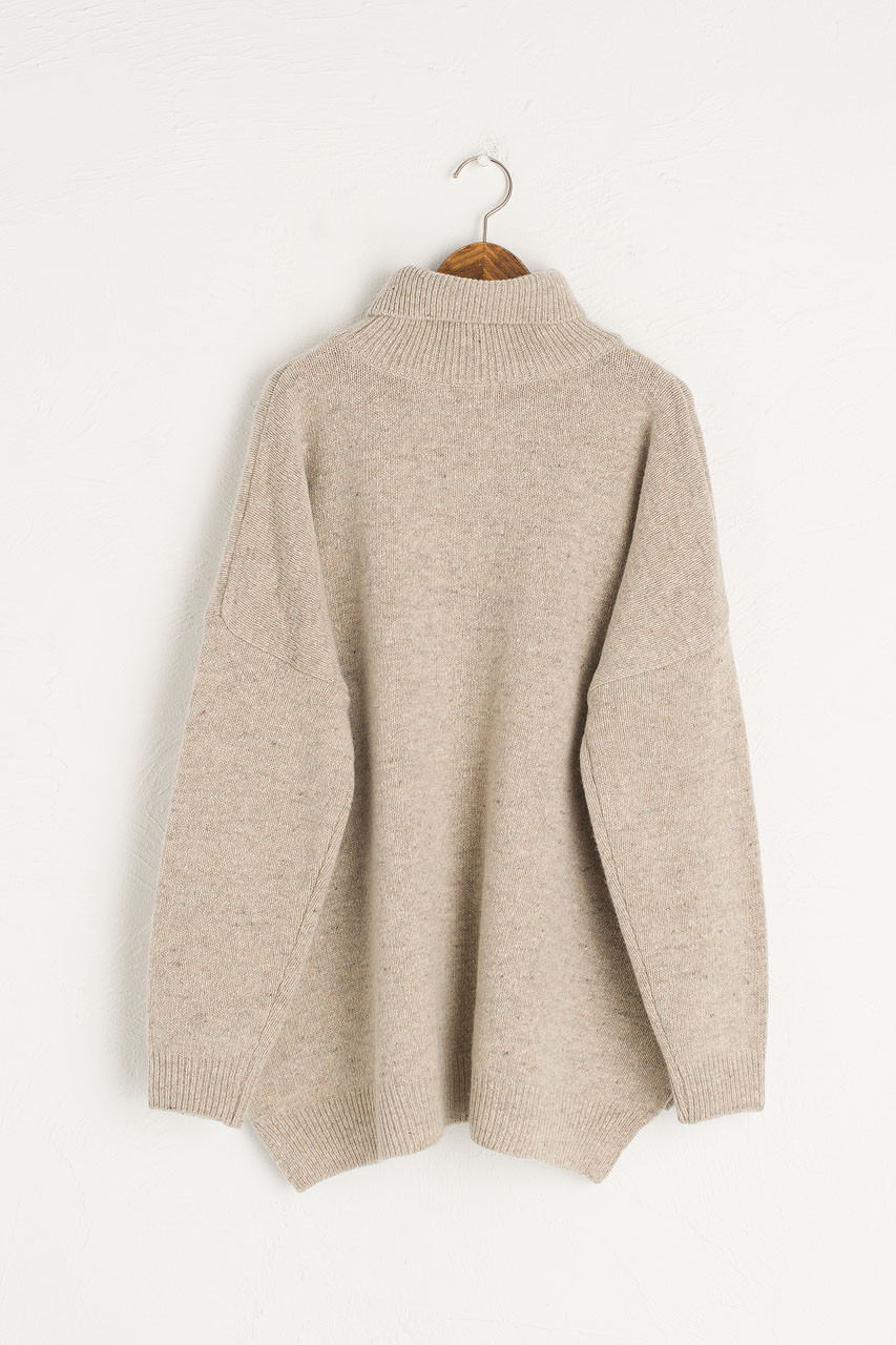 Oversize Boucle Roll Neck Jumper, Pebble