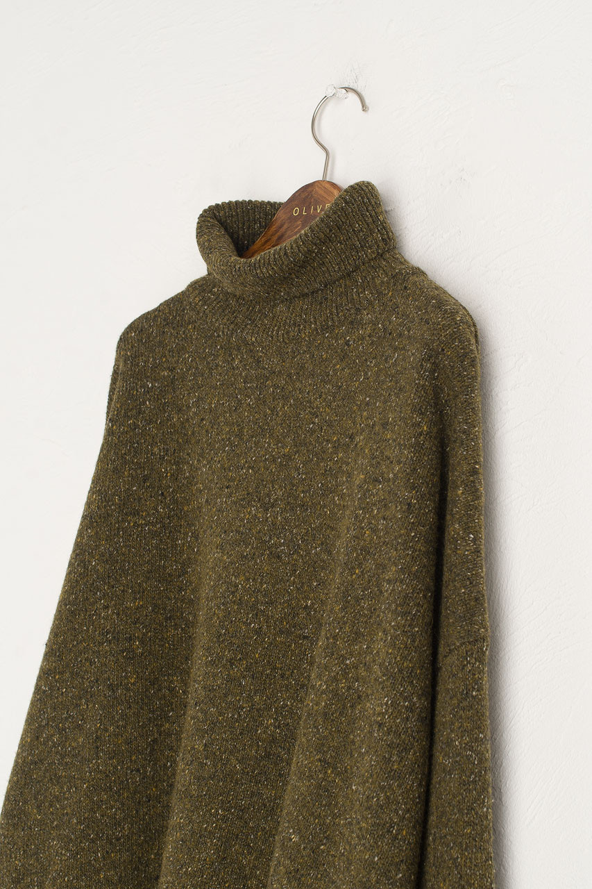 Oversize Boucle Roll Neck Jumper, Moss