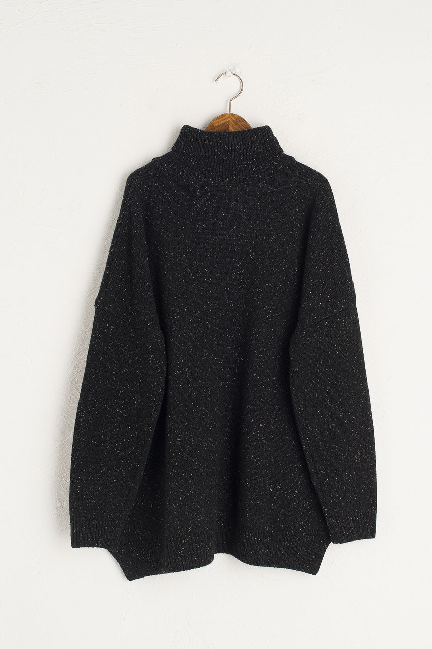 Oversize Boucle Roll Neck Jumper, Black