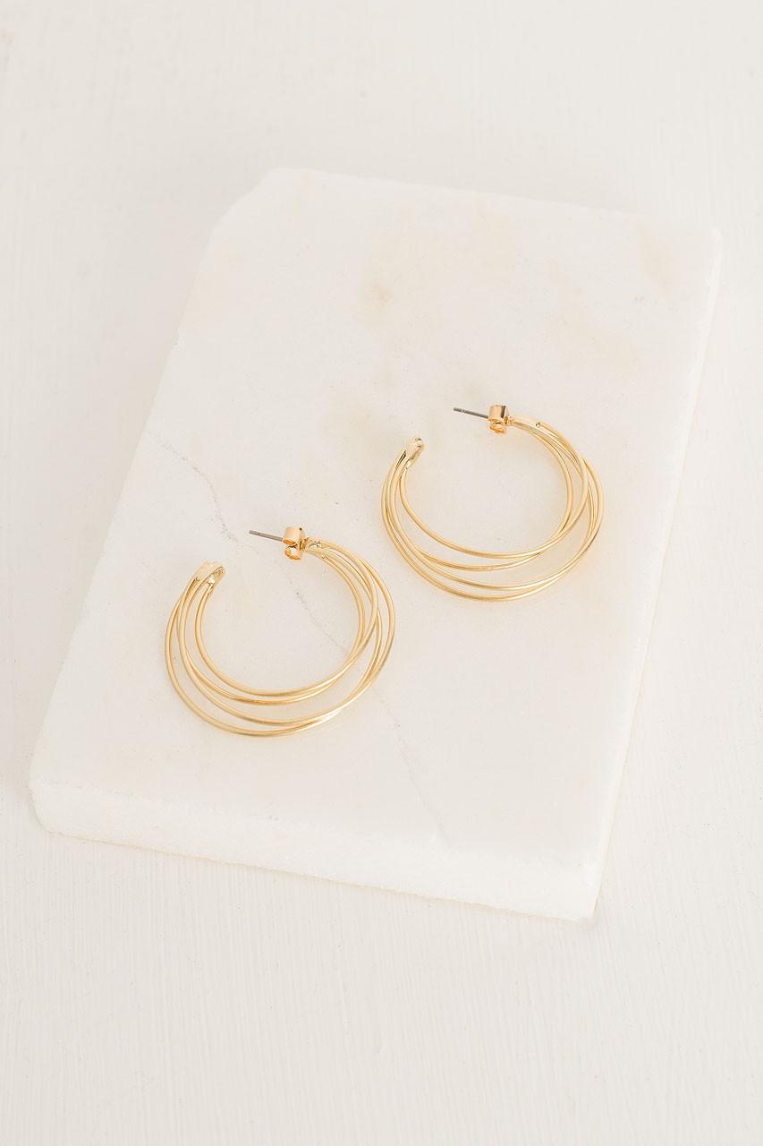 Rose Hoop Earrings, Gold Plated