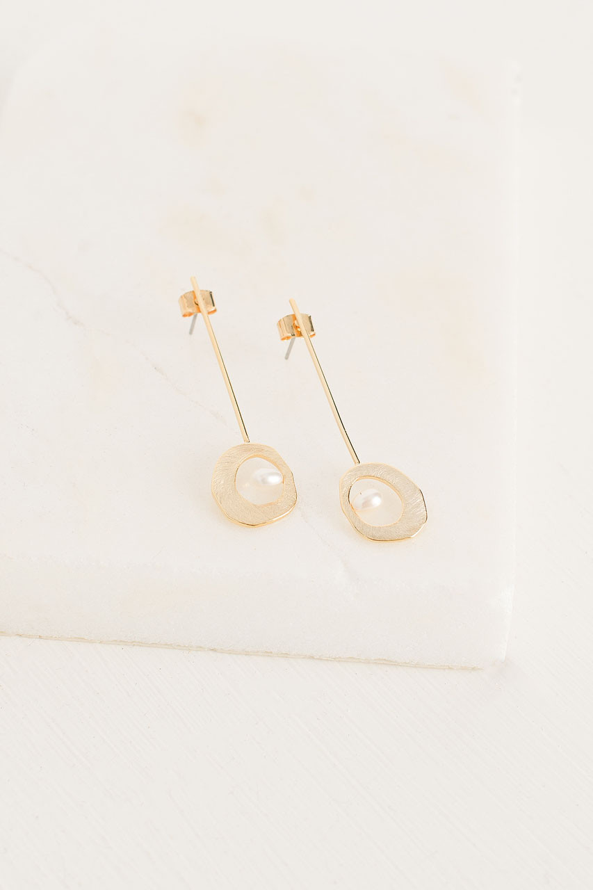 Mare Pearl Drop Earrings, Gold Plated