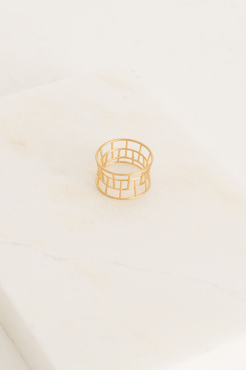 Tower Ring, Gold Plated