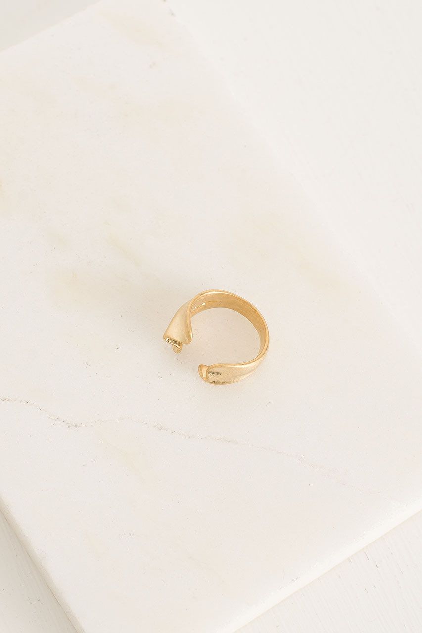 Raised Wave Ring, Gold Plated