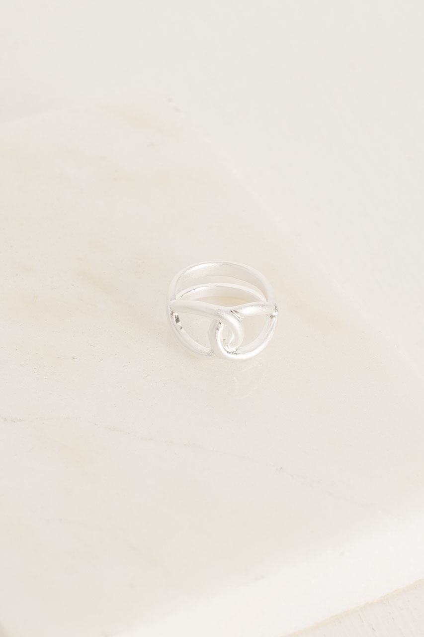 Dora Loop Ring, Silver Plated