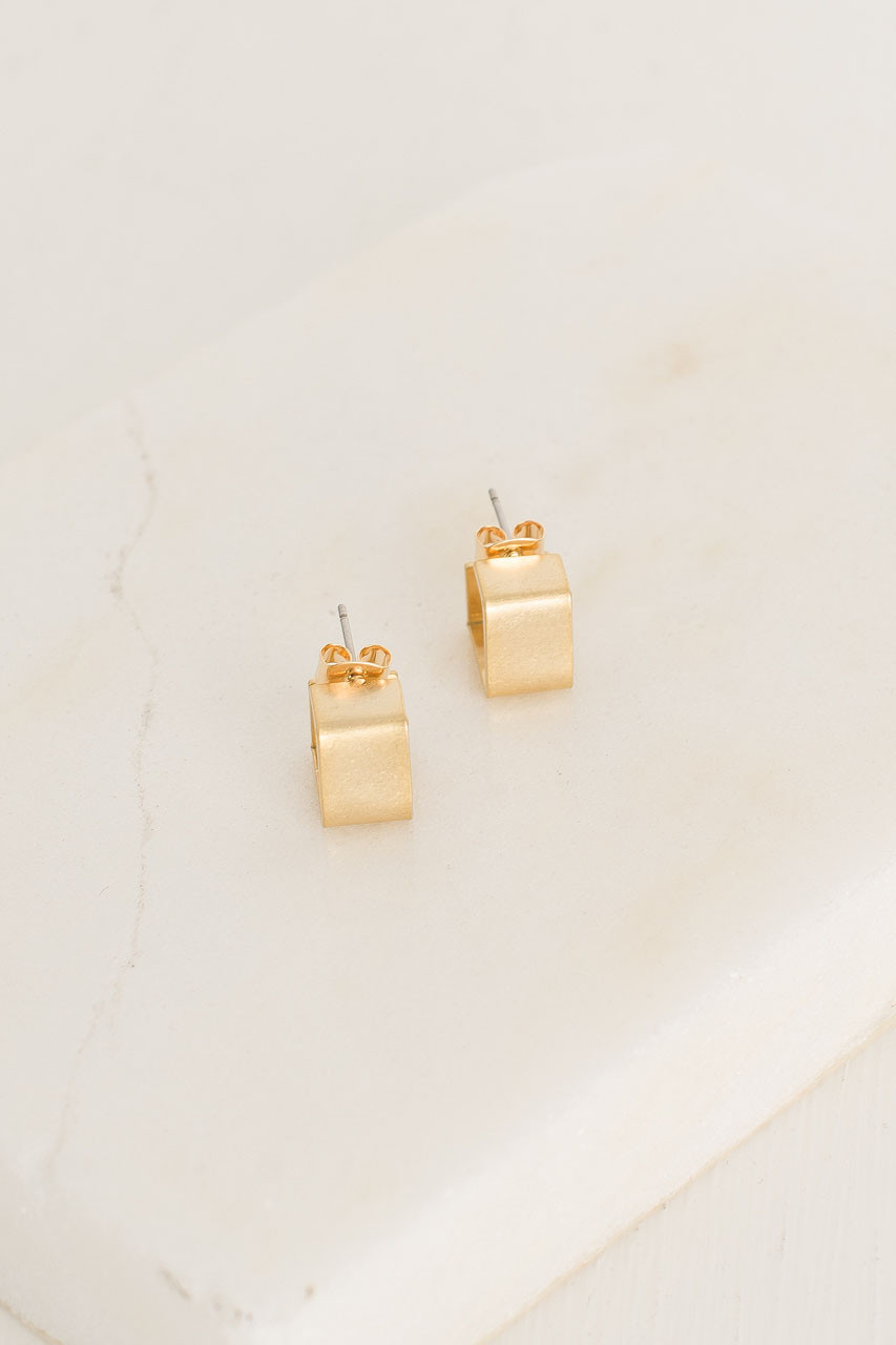 Elsie Square Earrings, Gold Plated
