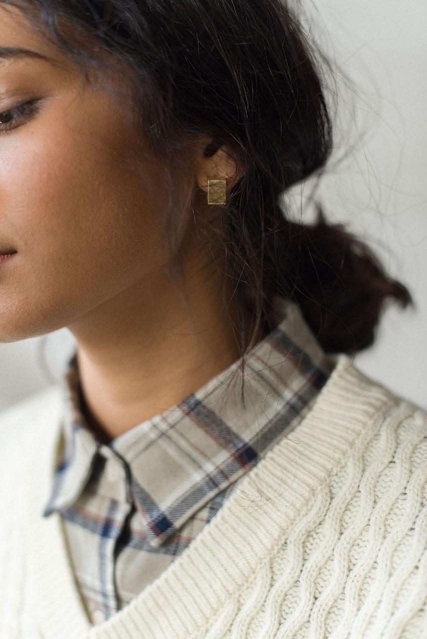 Elsie Square Earrings, Gold Plated