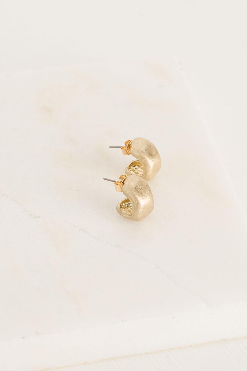 Stephany Pressed Hoop Earrings, Gold Plated
