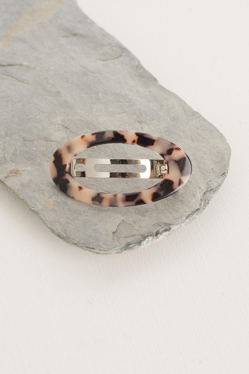 Molly Oval Hair Pin, Beige Tortoise Shell