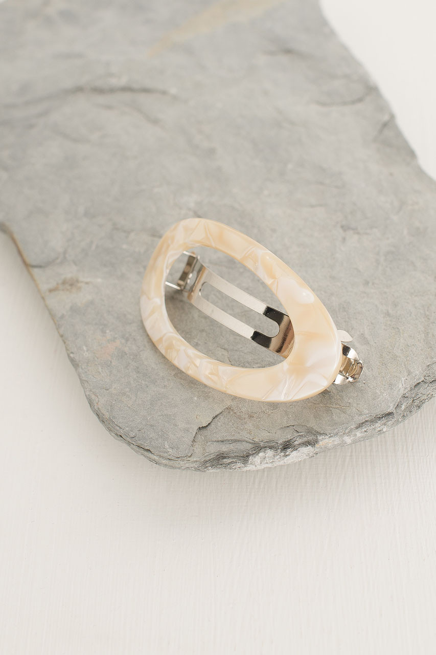 Molly Oval Hair Pin, Ivory Tortoise Shell