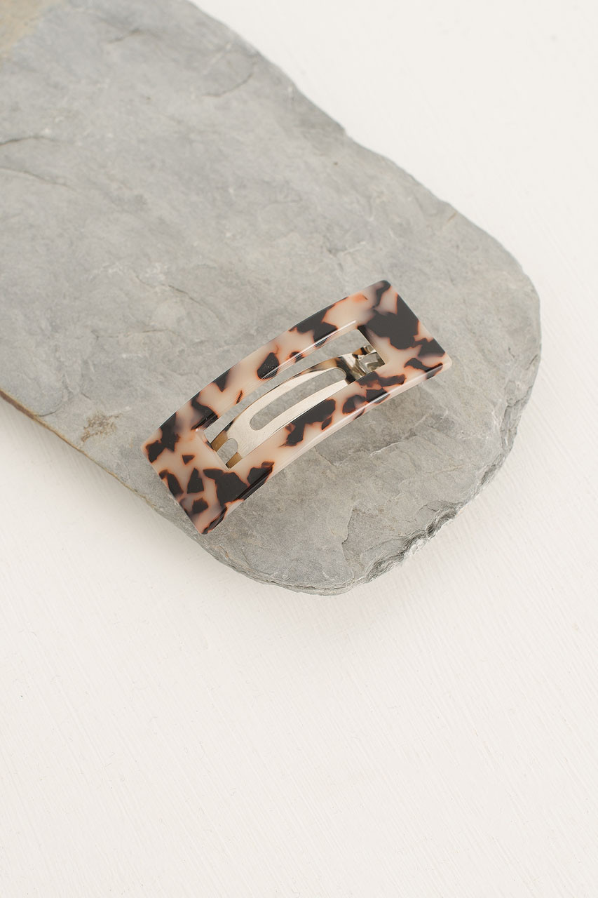 Molly Square Hair Pin, Beige Tortoise Shell