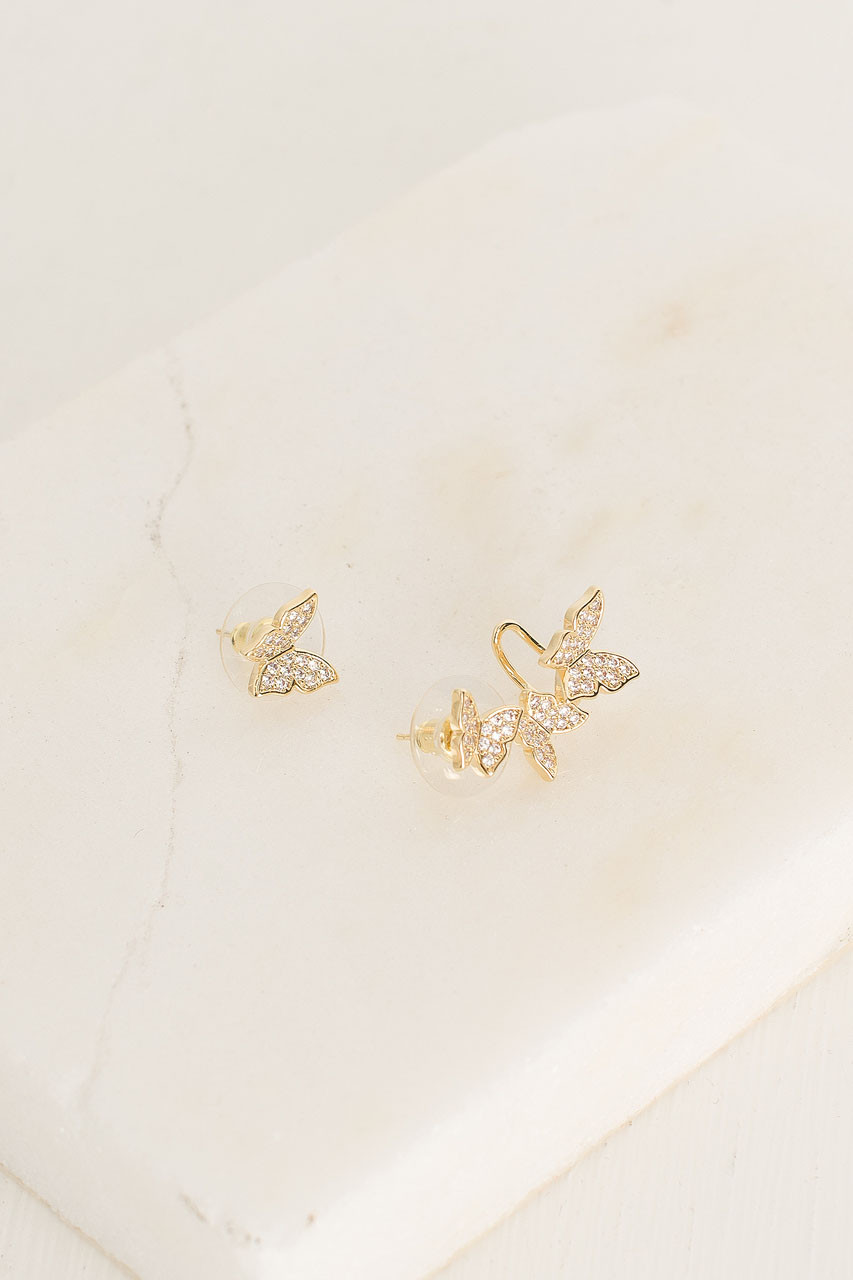 Butterfly Earring And Ear Cuff, Gold Plated